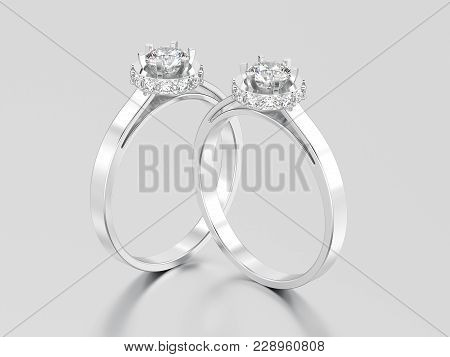 3D illustration two white gold or silver halo bezel pave diamond rings on a gray background poster