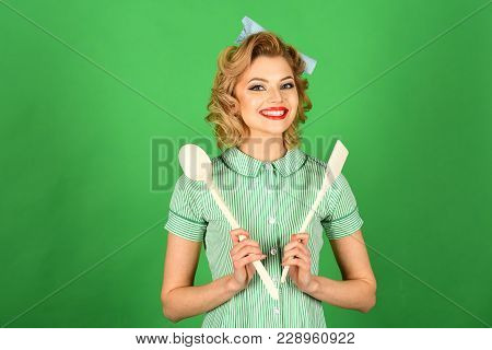Housekeeper with kitchen utensil, household. Retro woman cooking, gender inequality. Everyday life, housework. Chef cooking, wife. Pinup woman cook hold kitchenware, retro style, maid. poster