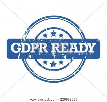 General Data Protection Regulation, GDPR ready stamp on white background.