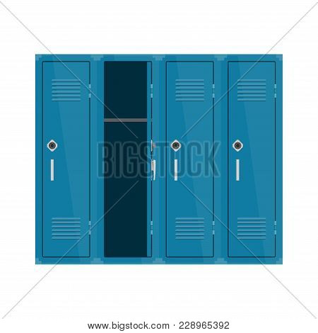 Blue Metal Cabinets School Or Gym With Combination Locks. Colorful Interior. Vector Illustration