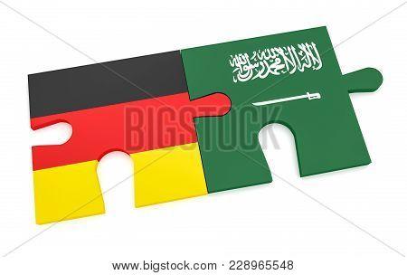 Germany Saudi Arabia Partnership Concept: German Flag And Saudi Arabian Flag Puzzle Pieces, 3d Illus