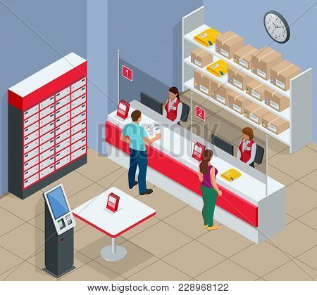 Isometric Post Office Concept. Young Man And Woman Waiting For A Parcel In A Post Office. Correspond
