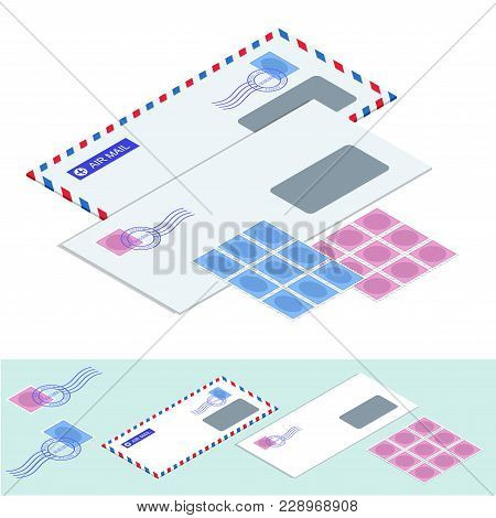 Isometric Postal Envelopes. Mail Envelope, Stickers, Stamps And Postcard Vintage Style Vector Illust