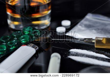 Hard Drugs On Dark Background.