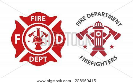 Fire Department Icons, Set Of Modern And Vintage
