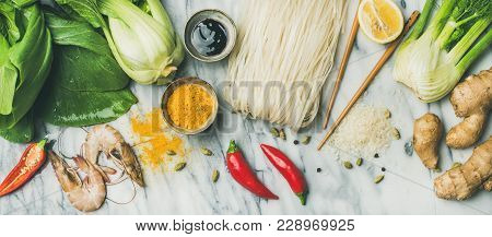 Asian Cuisine Ingredients Over Marble Background, Top View. Flat-lay Of Vegetables, Spices, Shrimp,