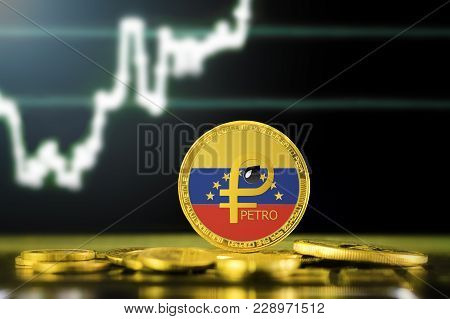 Petro (ptr) National Venezuela Cryptocurrency; Gold Petro Coin With The Flag Of Venezuela