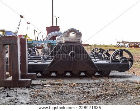 Half-track. Detail Of Combine Harvester. Combine Harvesters Agricultural Machinery. The Machine For