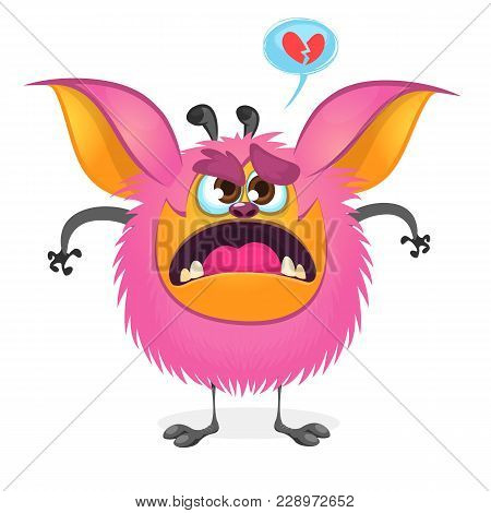 Angry Cartoon Fat Pink Monster. Vector Illustration Of A Monster Character With Large Ears