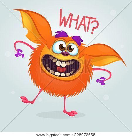 Cute Cartoon Orange Monster. Vector Fat Monster Mascot Character. Halloween Design For Party Decorat