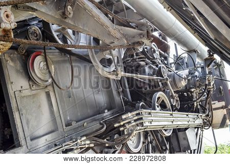 Rotary Combine Harvester Torum Under The Hood. Details And Knots. Combine Harvesters Agricultural Ma