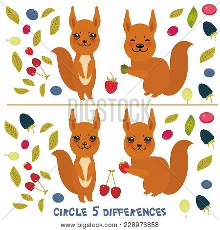 Circle 5 Differences Educational Game For Preschool Children Picture Puzzle: Find The Five Differenc