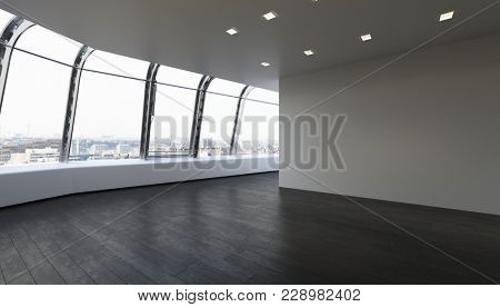 Empty unfurnished room with wooden parquet in modern apartment. 3d Rendering.
