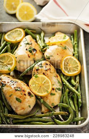 Roasted Chicken Breast With Lemon And Green Beans, One Pan Dinner Concept