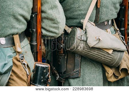 Outfit German Soldier World War Ii. Rifle, Bayonet Knife And Box For A Gas Mask