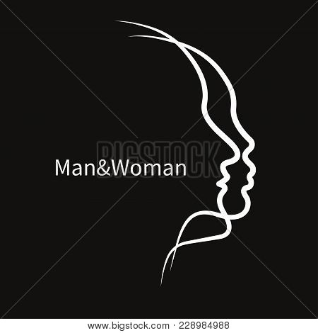Two Abstract Profile Of Male And Female. Icon Man And Woman, Family Therapy, Logo Psychologist. Vect