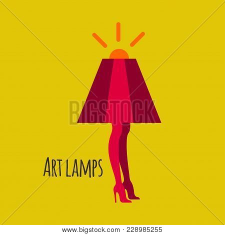 Lamp With Female Legs. Logo For Lamps Shop, Lampshades, Unique Interior Objects. Vector Illustration