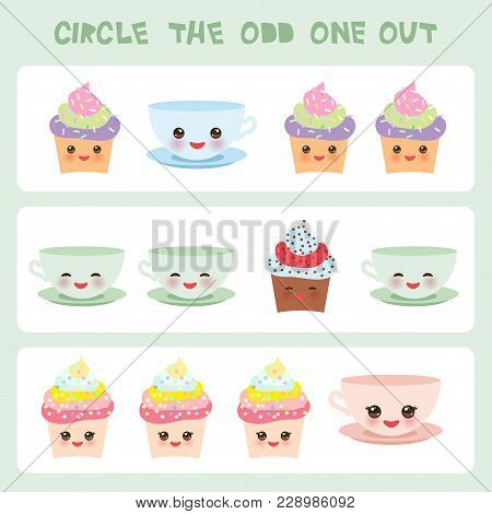 Visual Logic Puzzle Circle The Odd One Out. Kawaii Colorful Cupcake Coffee Cup With Pink Cheeks And