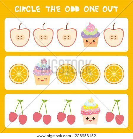 Visual Logic Puzzle Circle The Odd One Out. Kawaii Colorful Cupcake Apple Orange Cherry With Pink Ch