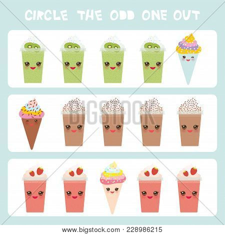 Visual Logic Puzzle Circle The Odd One Out. Kawaii Colorful Coffee Kiwi Strawberry Smoothies, Ice Cr