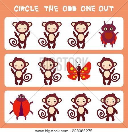 Visual Logic Puzzle Circle The Odd One Out. Kawaii Brown Monkey With Pink Cheeks And Winking Eyes, B