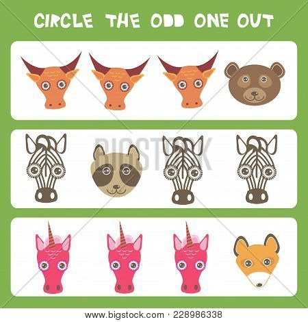 Visual Logic Puzzle Circle The Odd One Out. Kawaii Animals Cow Bear Raccoon Zebra Unicorn Fox, Paste