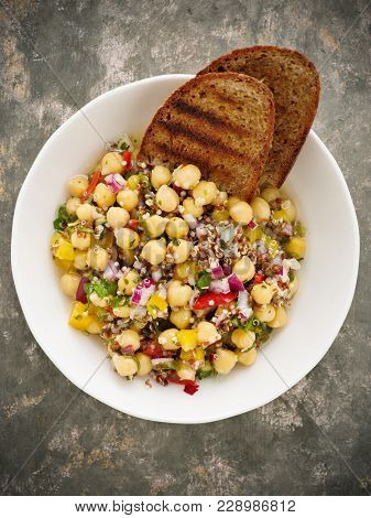Vegan Quinoa Salad With Chickpeas And Bread