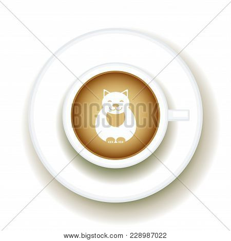 Kitty Coffee Latte Art Animal, Top View Shape Foam Art Of A Cappuccino Cup With Saucer On White Tabl