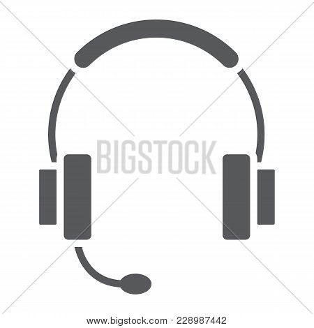 Tech Support Glyph Icon, E Commerce And Marketing, Headset Sign Vector Graphics, A Solid Pattern On