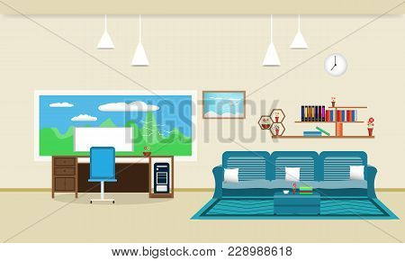Living Room Interior Design Relax With Sofa And Computer Table - Chair Bookshelf Window Sky Cloud La