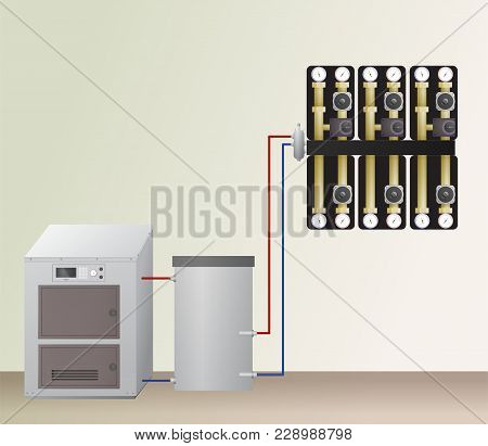 Solid Fuel Boiler With Accumulator Tank In The Heating System. Vector Illustration. Hvac Equipment A