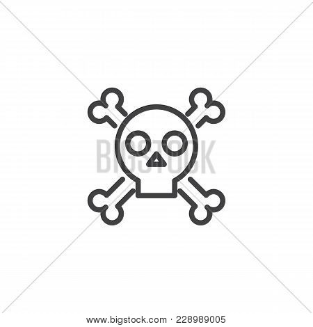 Skull With Crossed Bones Outline Icon. Linear Style Sign For Mobile Concept And Web Design. Crossbon