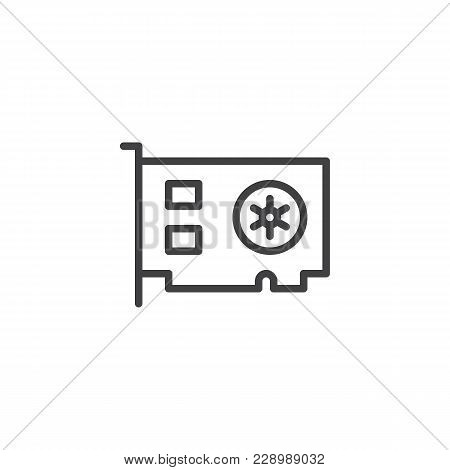 Computer Video Card Outline Icon. Linear Style Sign For Mobile Concept And Web Design. Computer Part