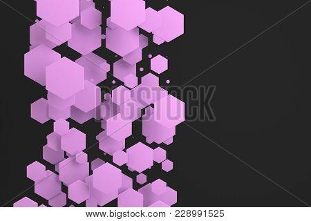 Violet Hexagons Of Random Size On Black Background