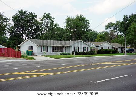 Joliet, Illinois / United States - July 27, 2017: A Single Family Ranch Style Home, On Essington Roa