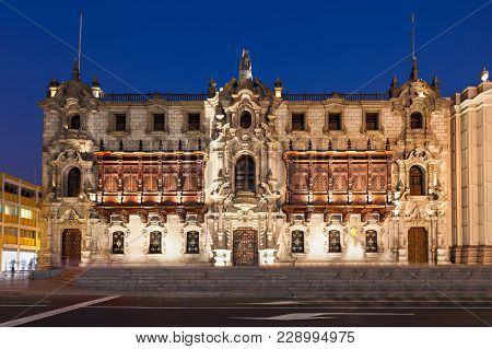 The Archbishop Palace Of Lima At Night, Located On The Plaza Mayor Of Lima, Peru