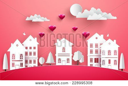 Balloons Flew Over A House In Town. There Is A Pink Background. Paper Art Design