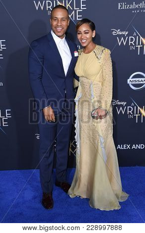 LOS ANGELES - FEB 26:  DeVon Franklin and Meagan Good arrives for the