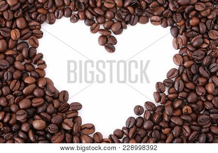 Heart Coffee Frame Made Of Coffee Beans, Frame In The Shape Of Heart From Coffee Beans - Symbolizes
