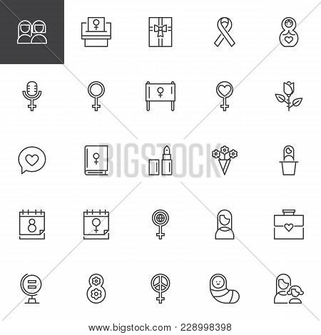 Woman's Day Outline Icons Set