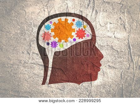 Silhouette Of A Head. Mental Health Relative Design Template. Gears Group As A Symbol Of A Brains