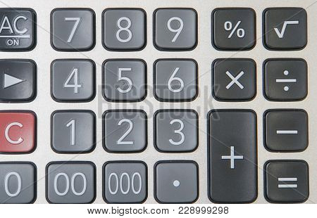 Close Up Numeric Button Of Calculator For Finance