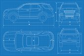 Off-road car schematic or suv car blueprint. Vector illustration. Off-road car in outline. Business vehicle template vector. View front, rear, side, top. poster
