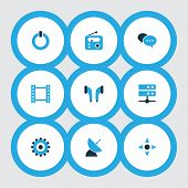Multimedia icons colored set with controller, radio, earmuff and other datacenter elements. Isolated vector illustration multimedia icons. poster