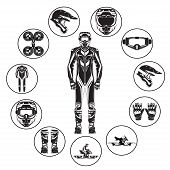 Vector illustration of motorcycle hoverbike rider in riding suit and protective gear. Hovering motorcycle suit, boots, gloves, helmet and goggles icon set. Black templates on white background. poster