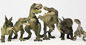 A Group of Six Ferocious Dinosaurs Lined Up in a Row Against White poster