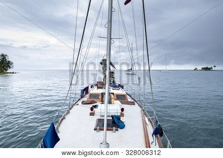 San Blas Archipelago, Panama - November 22nd, 2018: Sailing Boat View From The Prow Of Sea With Othe