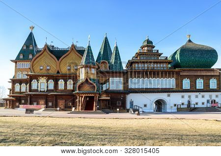 Moscow, Russia - March 12, 2014: Wooden Palace Of Tsar Alexei Mikhailovich In Kolomenskoye, Famous T