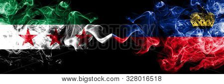 Syrian Arab Republic Vs Liechtenstein, Liechtensteins Smoke Flags Placed Side By Side. Thick Colored