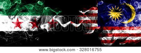 Syrian Arab Republic Vs Malaysia, Malaysian Smoke Flags Placed Side By Side. Thick Colored Silky Smo